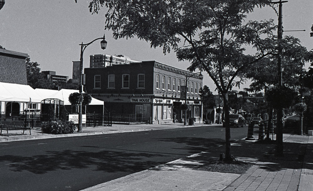Downtown Street with 19th Century Business Building